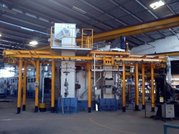 Monorail Spinner Hanger Machine with Blow Off Zone and Job Manipulator